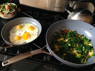 My favorite breakfast ever.  Kale, Asparagus, Peppers, Onion, Garlic, Brussels Sprouts sauted in ghee.