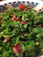 Kale salad with strawberries, avocado and walnuts