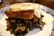 Gluten Free french toast, sauteed kale and mushrooms, Mullay's breakfast sausage, fried egg, ice-box pie filling.